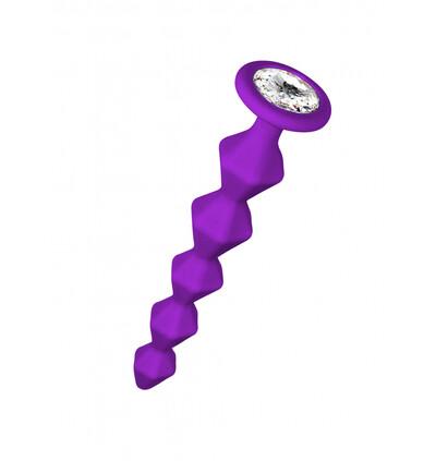 Lola Games Anal Bead With Crystal Emotions Buddy Purple - Koraliki analne z kryształem, fioletowe