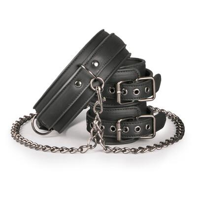 Easy Toys Leather Collar With Handcuffs - Kajdanki do rąk z obrożą