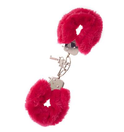 Dream Toys Metal Handcuff With Plush Red - Kajdanki z futerkiem, czerwone