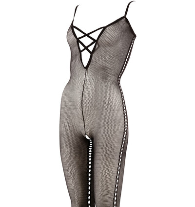 Mandy Mystery lingerie Net Catsuit Black Size S/M - bodystocking, czarne