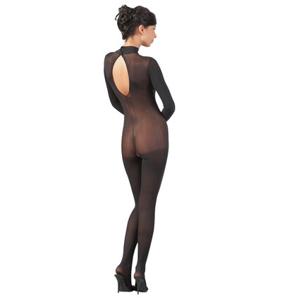 Mandy Mystery lingerie Catsuit With Lace Collar S/M - bodystocking, czarne