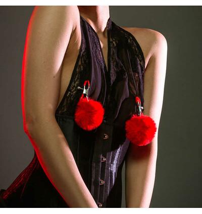 Lola Games Clams Party Hard Angelic Red - Klamerki do sutków, czerwone