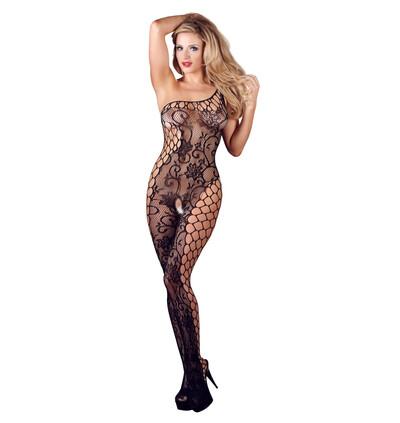 Mandy Mystery lingerie Catsuit Asymmetrical S-L - bodystocking, czarne