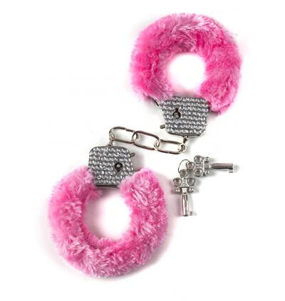 Lola Toys Wristcuffs With Crisatls Bondage Pink - Kajdanki z futerkiem, różowe