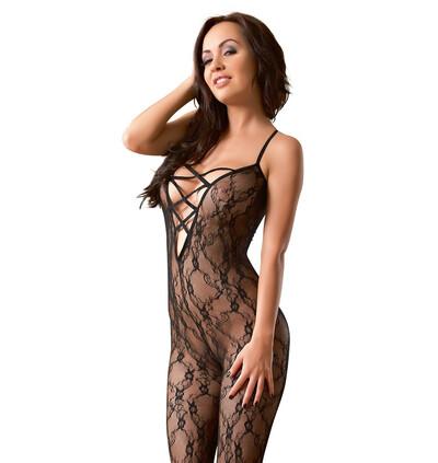 Mandy Mystery lingerie Lace Catsuit S/M - bodystocking, czarne