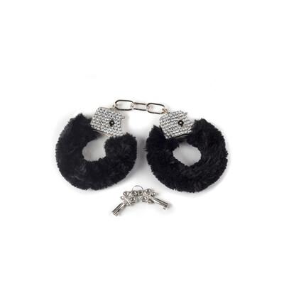 Lola Toys Wristcuffs With Crisatls Bondage Black - Kajdanki z futerkiem, czarne