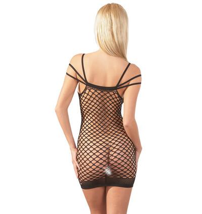 Mandy Mystery lingerie Netzkleid Träger S-L - sukienka, czarne