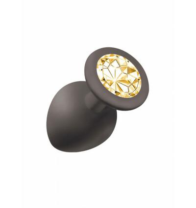 Lola Toys Anal Emotions Cutie Large Black Golden Crystal - Korek analny ze złotym kryształem