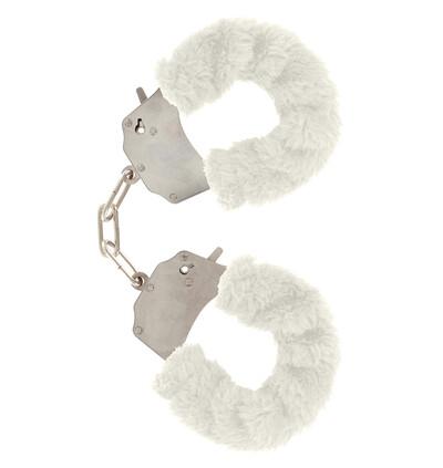 ToyJoy Furry Fun Cuffs White Plush - Kajdanki z futerkiem, białe