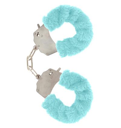 ToyJoy Furry Fun Cuffs Pale Blue Plush - Kajdanki z futerkiem, niebieskie