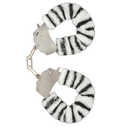 ToyJoy Furry Fun Cuffs Zebra Plush - Kajdanki z futerkiem, Biało-Czarne