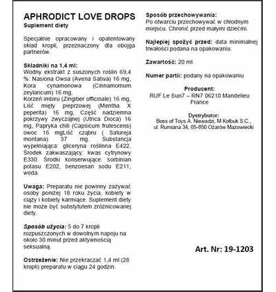 RUF Aphrodict Love Drops 30 Ml - Krople na libido