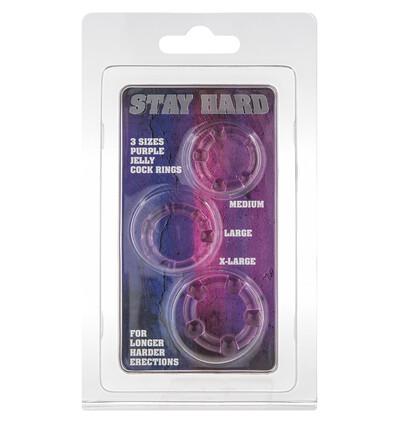 Stay Hard Three Rings - Purple - Zestaw elastycznych pierścieni erekcyjnych, fioletowe