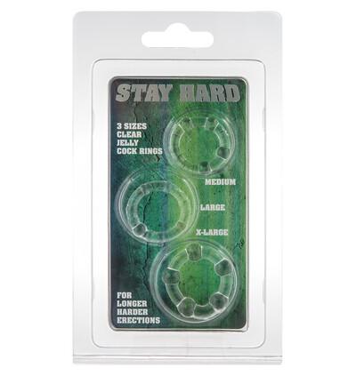 Stay Hard Three Rings - Clear - Zestaw elastycznych pierścieni erekcyjnych, przezroczyste