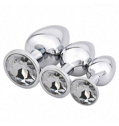 Power Escorts Diamond King 3 Pack Steel Plug With White Stone - Zestaw korków analnych