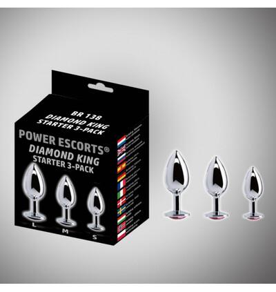 Power Escorts Diamond King 3 Pack Steel With Pin Stone Starter 3 Pack - Zestaw korków analnych