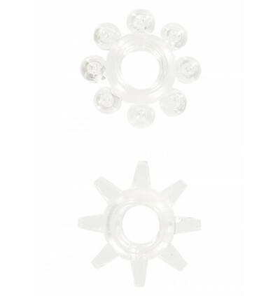ToyJoy Power Stretchy Rings Clear 2Pcs - Zestaw elastycznych pierścieni erekcyjnych, przezroczyste