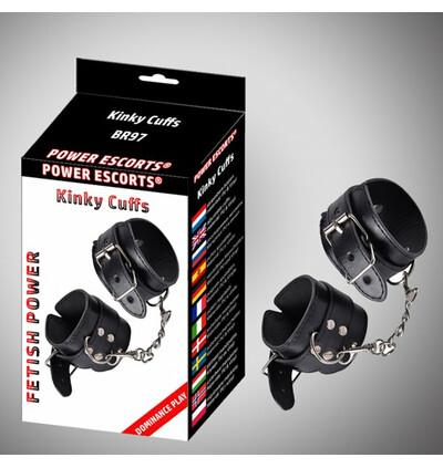 Power Escorts Kinky Cuffs Black Adjustable Cuffs - Kajdanki