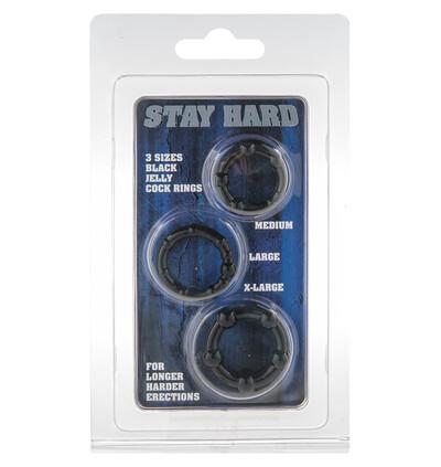 Stay Hard Three Rings - Black - Zestaw elastycznych pierścieni erekcyjnych, czarne