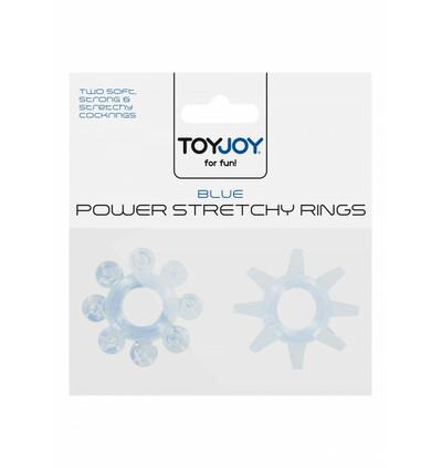 ToyJoy Power Stretchy Rings Blue 2Pcs - Zestaw elastycznych pierścieni erekcyjnych, niebieskie