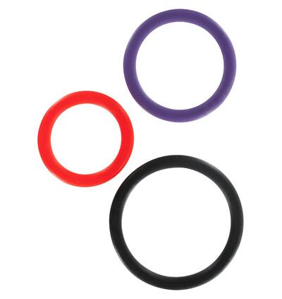 ToyJoy Triple Rings Multicolor 3Pcs - Zestaw elastycznych pierścieni erekcyjnych