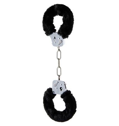 ToyJoy Furry Fun Cuffs Black Plush - Kajdanki z futerkiem, czarne