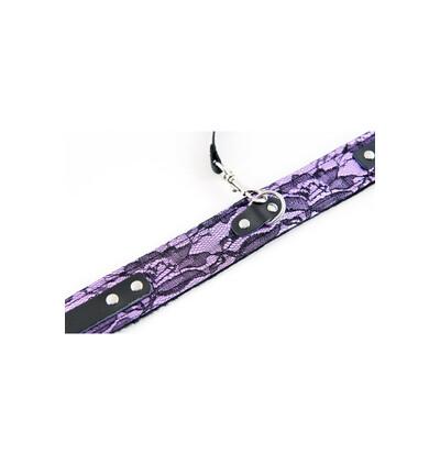 Toyfa Collar Tracery Purple With Black Leash - Obroża ze smyczą