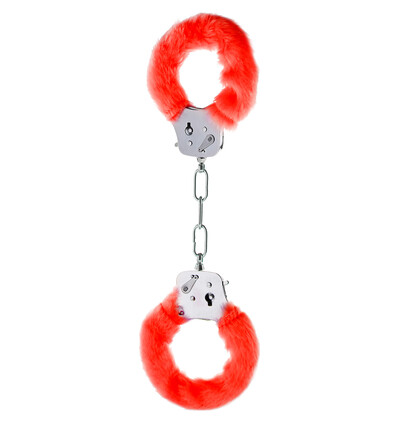 ToyJoy Furry Fun Cuffs Red Plush - Kajdanki z futerkiem, czerwone
