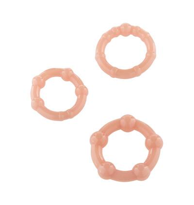 Stay Hard Three Rings - Skin - Zestaw elastycznych pierścieni erekcyjnych, cieliste