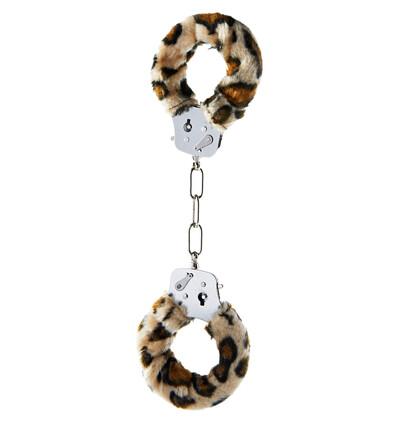 ToyJoy Furry Fun Cuffs Leopard Plush - Kajdanki z futerkiem, panterka