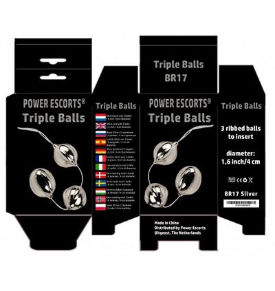 Power Escorts Triple Balls Silver - Kulki analne, srebrne