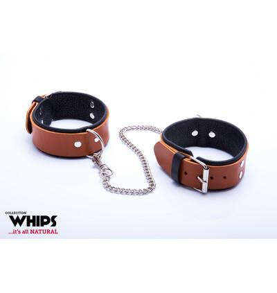 Whips Collection - Kajdanki Męskie Na Nogi, Koniakowe