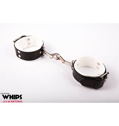 Whips Collection - Kajdanki Męskie, Z Karabińczykami, Białe