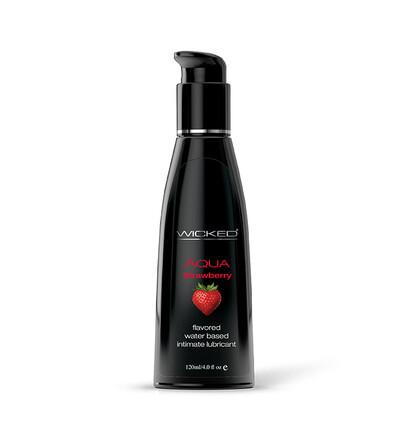 Wicked Aqua Strawberry Flavored 120Ml - Lubrykant na bazie wody, o smaku truskawkowym