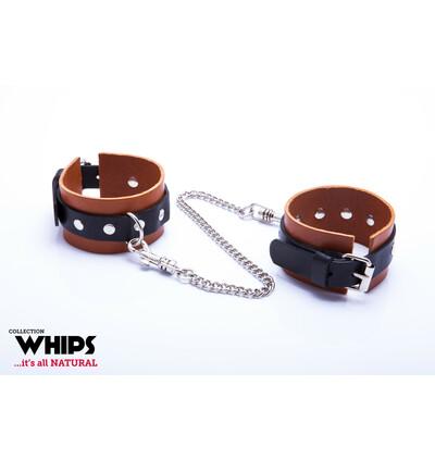 Whips Collection - Kajdanki Męskie Na Ręce, Koniakowe