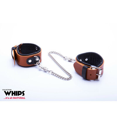 Whips Collection - Kajdanki Damskie Na Ręce, Koniakowe