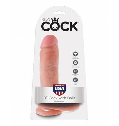 "King Cock 8"" Cock with Balls Flesh - dildo"