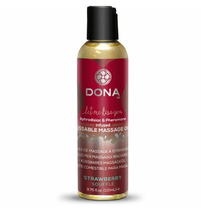 Dona Kissable Massage Oil Strawberry Souffle 110ml - Jadalny olejek do masażu , truskawowy