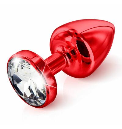 Diogol Anni Butt Plug Round Red 35 mm - zdobiony korek analny, Czerwony