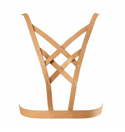 Bijoux Indiscrets Maze Net Cleavage - Harness, Brązowy