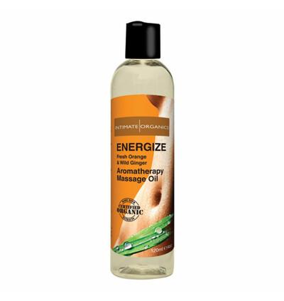 Intimate Organics Energize Massage Oil 120 ml - Organiczny Energetyzujący olejek do masażu