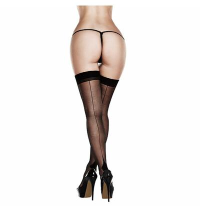 Baci Sheer Cuban Heel Thigh Highs - Pończochy, Czarny