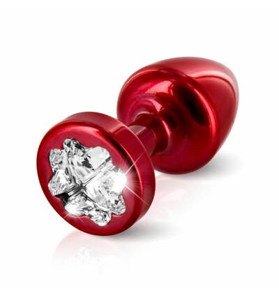 Diogol Anni R Butt Plug Clover Red 25 mm - zdobiony korek analny, Czerwony