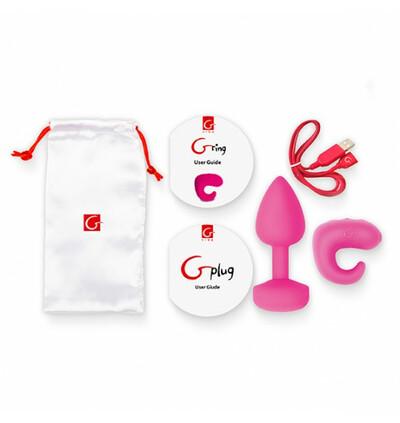 Gkit Sunny Raspberry - wibrujący zestaw korek analny i pierścień