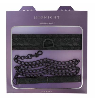 Sportsheets Midnight Lace Collar and Leash - Obroża ze smyczą