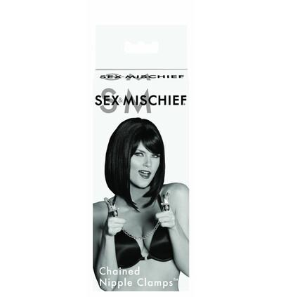 Sex&Mischief Chained Nipple Clamps - Zaciski na sutki z łańcuszkiem