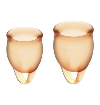 Satisfyer Feel Confident Menstrual Cup Set Orange - Kubeczki menstruacyjne