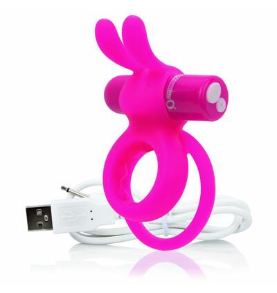 The Screaming O Charged Ohare Rabbit Vibe Pink - Wibrujący pierścień erekcyjny, Różowy