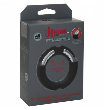 Kink by DocJohnson Hybrid Silicone Covered Metal Cock Ring 45mm - Elastyczny pierścień erekcyjny