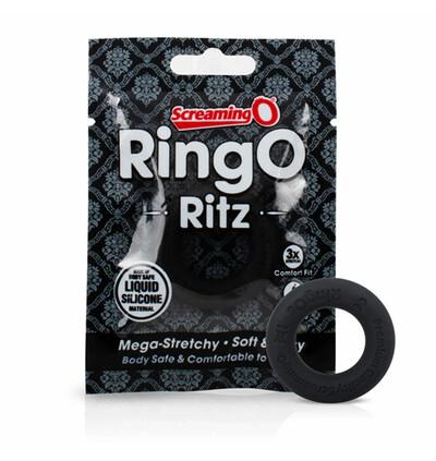 The Screaming O RingO Ritz Black - Elastyczny pierścień erekcyjny, Czarny